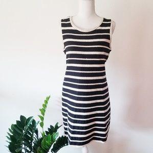 Max Studio Striped Braided Shift Dress M